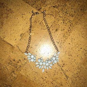 Light blue, filigree style statement necklace